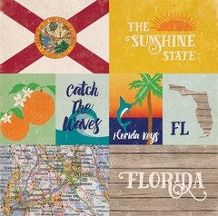 Echo Park Stateside Collection FLORIDA  12 x 12 Paper