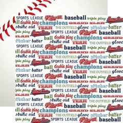 Echo Park Baseball Collection 12 x 12 Double Sided Cardstock Baseball Words