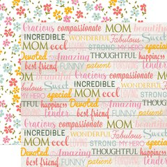 Echo Park Beautiful Mom 12 x 12 Double Sided Cardstock Mom Words
