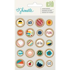 American Crafts - Go Now Go Collection - Wooden Buttons 375278