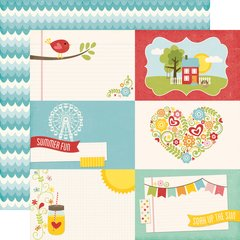 Echo Park Happy Summer 12 x 12 Double Sided Cardstock 4 x 6 Journaling Cards