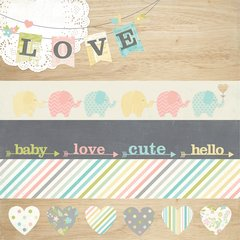 Simple Stories Hello Baby 2 x 12 Borders & 4 x 12 Title Strip Elements