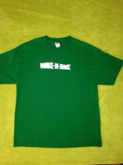 "Green  9"" Soild White  WAKE-N-BAKE  LOGO Shirt"