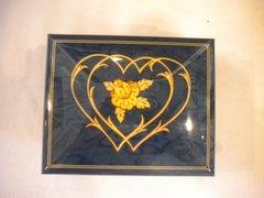 Wooden Italian Music Box Blue Heart