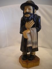 Hand Carved Wooden Rabi in Hat