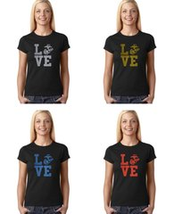 LOVE Design with USMC logo -- Women's Crew Neck Shirt with Glitter Design
