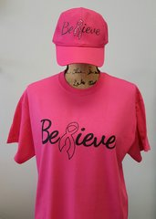 BREAST CANCER AWARENESS - Believe Shirt and Hat combo