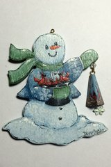 Snowman with Cardinals Ornament Pattern and Kit