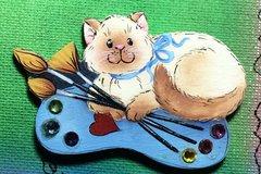 Artist kitties pattern and 1 kit with Swarovski crystals