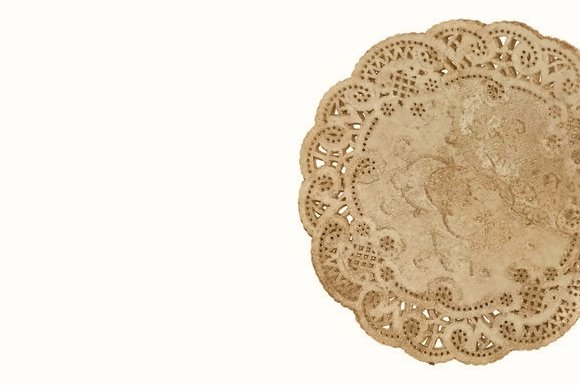 Vintage Style French Lace Paper Doilies Walnut Stained 10 Inch