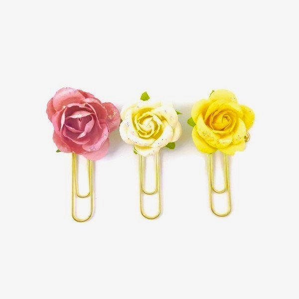 Flower paper planner clip set sugar coated prima flowers clip sugar coated paper flower planner paper clip mightylinksfo