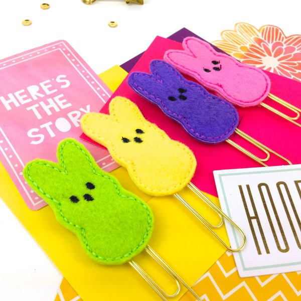 Easter bunny peep planner paper clip peep paper clip gifts felt easter bunny peep planner paper clips negle Choice Image