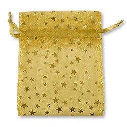 Organza bags gold galaxy stars design medium gift favor for Sheer galaxy fabric