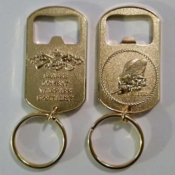 Seabee Combat Warfare Specialist Key Chain/Bottle Opener (Gold)