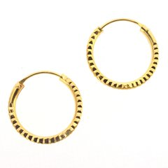 Diamond Cut 18mm Sterling Silver Hoop Earrings with Gold Plate - Basic Sleepers