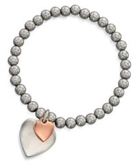 Fiorelli Costume Jewellery 1/4oz Silver & Rose Gold Double Heart Charm Bracelet