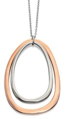 "Fiorelli Costume Jewellery 24"" Rose Gold & Silver Plated Double Oval Pendant"