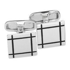 S/S SQUARE WITH BLACK DETAIL CUFFLINK