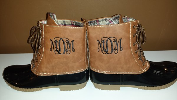 monogrammed ladies duck boots  run small