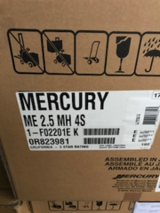 "2.5 HP 4 stroke 15"" manuel start new 2018 Mercury"