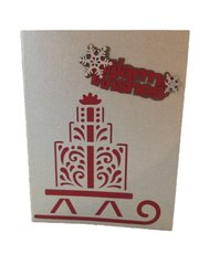 """20 Handcrafted Holiday Cards """"Warm Wishes"""" Laser Cut Sleigh and Presents"""
