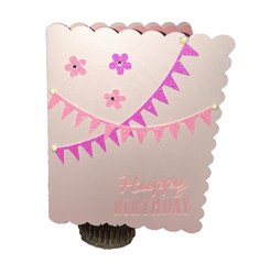 "20 Handcrafted Birthday Cards ""Pink Banner and Bling"" For Her"