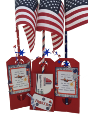 20 Handcrafted Shop for Pop-by Gift Tags; Fourth of July Freedom