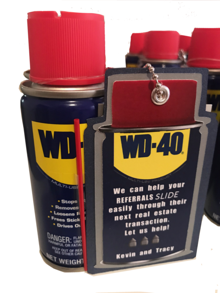 20 Handcrafted Pop By Gifts, 3OZ Can of WD-40, Includes a Pocket Tag with Tagline.