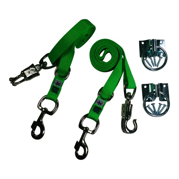 Broncobuster Adjustable Nylon Horse Cross Ties (2) with Hitching Rings Electric' Green