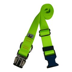 Beast-Master Nylon Dog Collar Metal Hardware-Screamin' Yellow