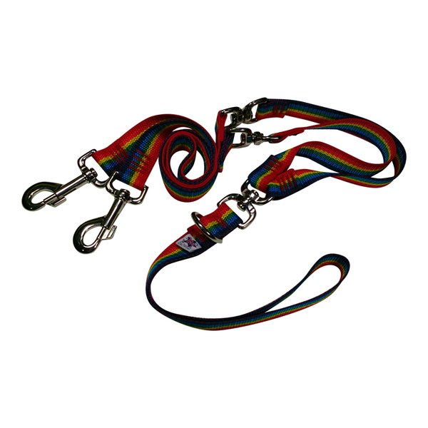 Beast-Master Double Dog Tangle-less Leash BM-PP-DDTL15 Rainbow Spectrum