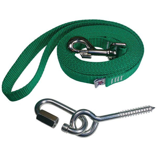 "Beast-Master 1"" Polypropylene Dog Leash w/Mounting Bolt/Lag Screw-Shamrock Green"