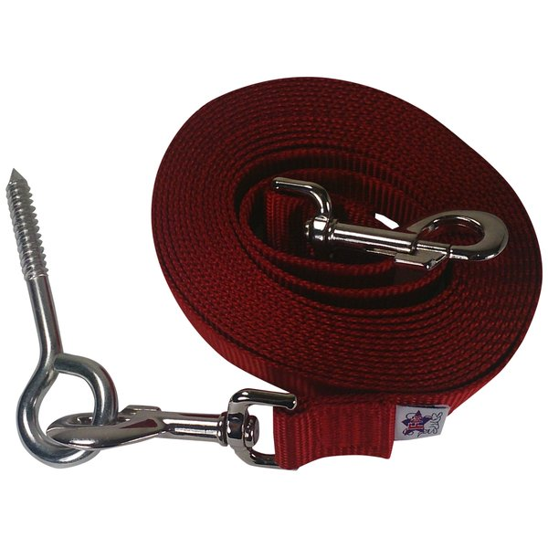 Beast-Master Nylon Dog Tether with Lag Screw-Red