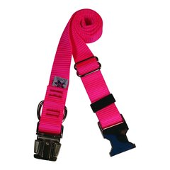 Beast-Master Nylon Dog Collar Metal Hardware-Hot Pink