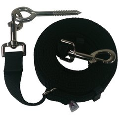"Beast-Master Adjustable 1"" Nylon Dog Tether w/Lag Screw (Medium Dogs) Black"