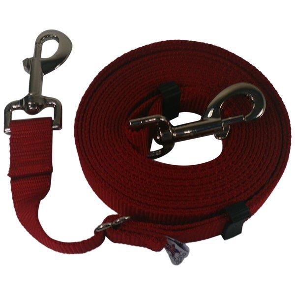 "Beast-Master Adjustable 1"" Nylon Dog Tether (Medium Dogs) Red"
