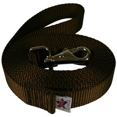 """Beast-Master 1"""" Nylon Dog Leash with Weezel Snap Brown"""