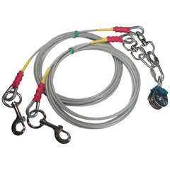 Freedom Aerial Dog Run™ Tangle Free Double Dog Lead Lines Heavy Duty FADR-DD15HD