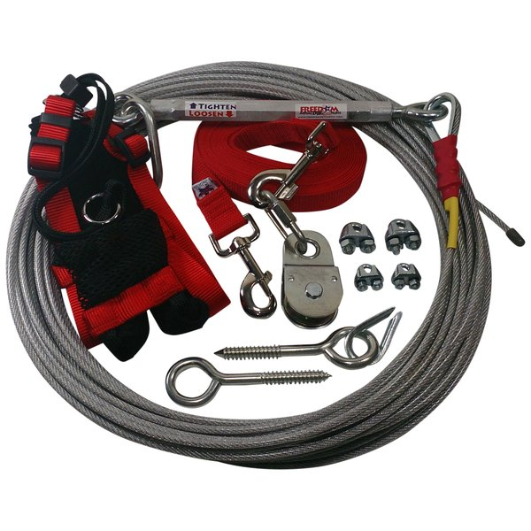 Freedom Aerial Dog Run™ Firehouse Red Polypropylene Lead and Harness FADR-100PP-CH