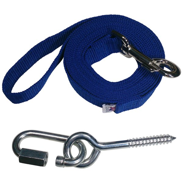 "Beast-Master 1"" Polypropylene Dog Leash w/Mounting Bolt/Lag Screw-Royal Blue"