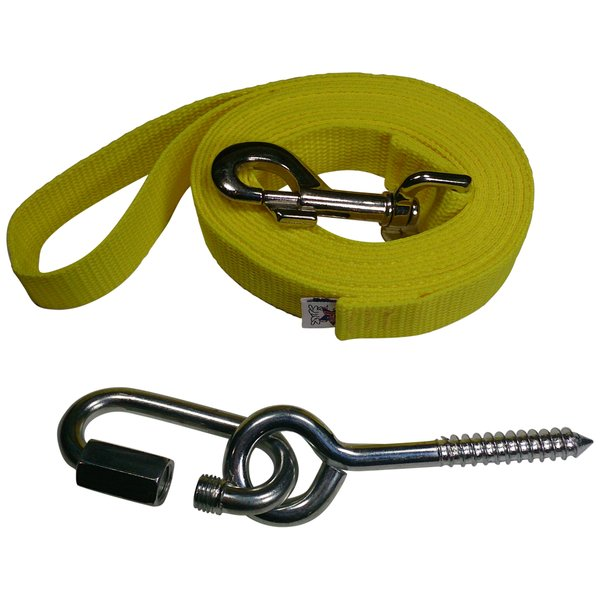 "Beast-Master 1"" Polypropylene Dog Leash w/Mounting Bolt/Lag Screw-SunDrop Yellow"
