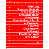 NFPA-265(15): Standard Methods of Fire Tests for Evaluating Room Fire Growth Contribution of Textile or Expanded Vinyl Wall Coverings on Full Height Panels and Walls