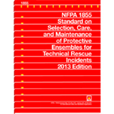 NFPA-1855(13): Standard on Selection, Care, and Maintenance of Protective Ensembles for Technical Rescue Incidents