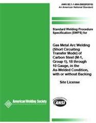 AWS- B2.1-1-004:2002(R2013) SWPS for Gas Metal Arc Welding (Short Circuiting Transfer Mode) of Carbon Steel, (M-1, Group 1)