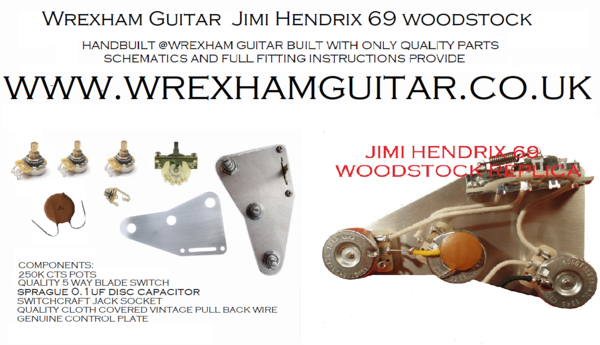 Jimi hendrix 69 woodstock reproduction stratocaster strat wiring jimi hendrix 69 woodstock reproduction stratocaster strat wiring kit hand built in wales sciox Image collections