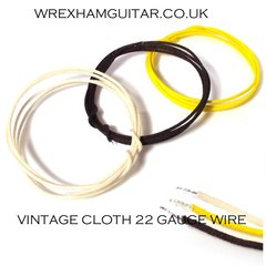 VINTAGE CLOTH COVERED WIRE BLACK WHITE YELLOW 22 GAUGE