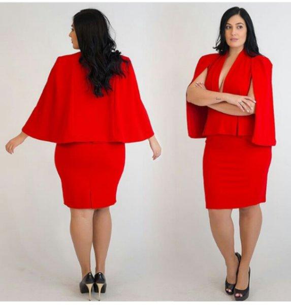 Red cape dress plus size