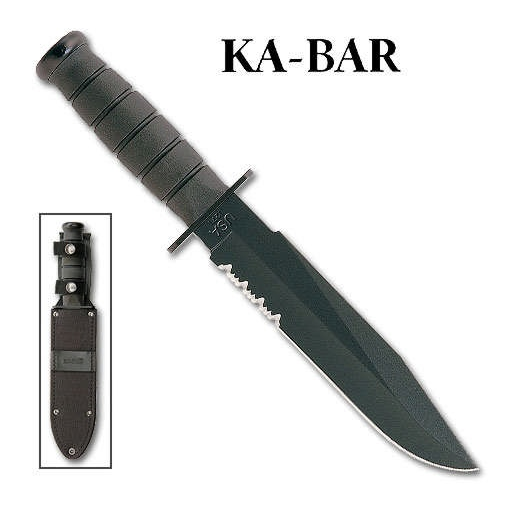 KA-BAR KABAR USMC ISSUE PART SERRATED KA1271 USA FIXED