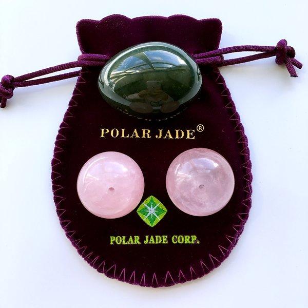 Nephrite Jade Yoni Egg And Rose Quartz Kegel Balls Bundle