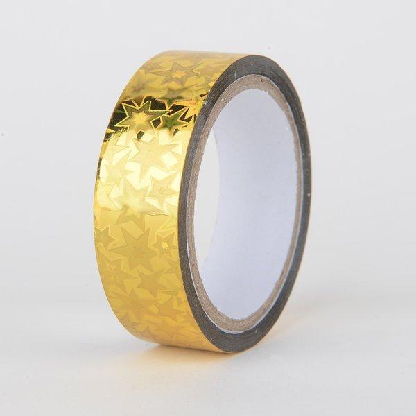 Decorative Tape, Holographic, Gold Star, SKU: DT150157